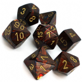 Blue Blood & Gold Scarab Polyhedral 7 Dice Set